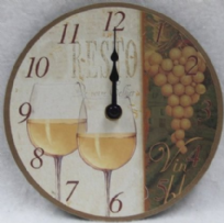 White Wine Wall Clock - 15cm Diameter